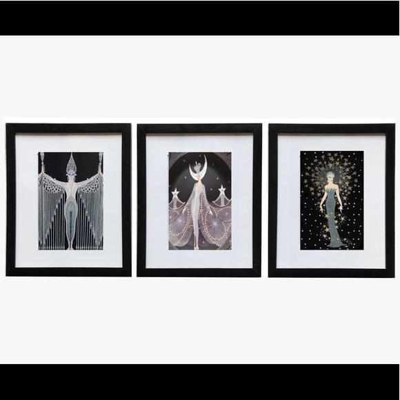 Erte Girls Set of 3 Framed Prints